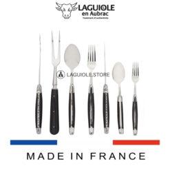 21 piece laguiole cutlery set wood handle satin polish