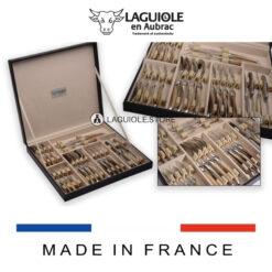 21 piece laguiole en aubrac cutlery set wood handle satin polish