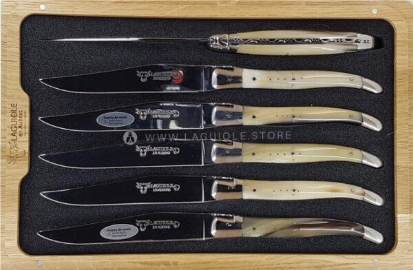 6 laguiole steak knives horn tip in wooden box