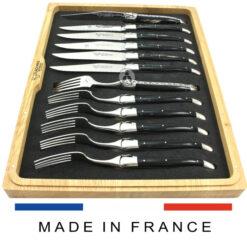black buffalo horn laguiole cutlery set 12 piece