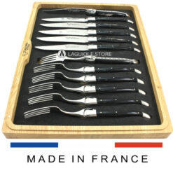 black buffalo horn laguiole en aubrac cutlery set 12 piece