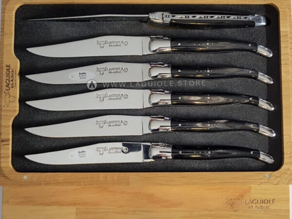 buffalo horn laguiole en aubrac table knives set