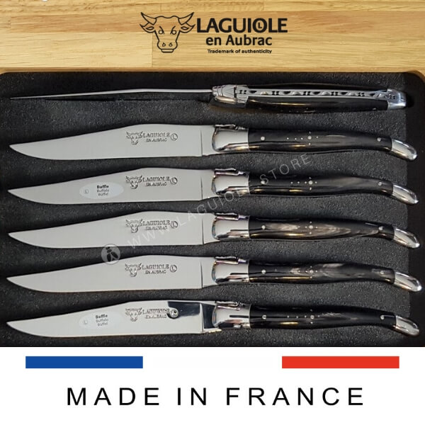 buffalo horn laguiole table knives set