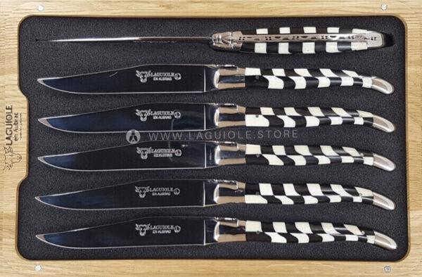 checkered inlay bone-ebony laguiole table knives set