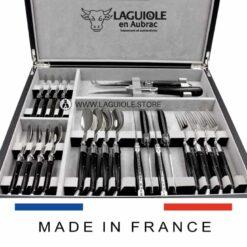 cutlery set laguiole shiny wood