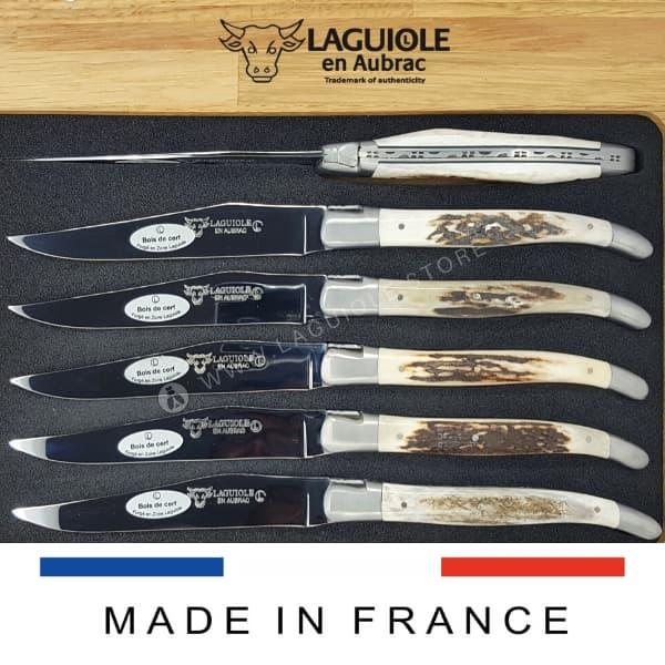 deer antler laguiole steak knives set of 6 satin finish