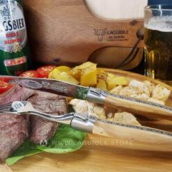 dinner forks laguiole juniper wood handle