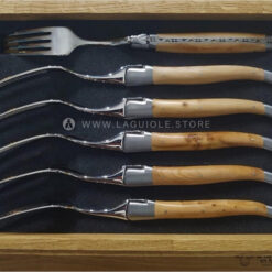 dinner forks laguiole juniper wood satin