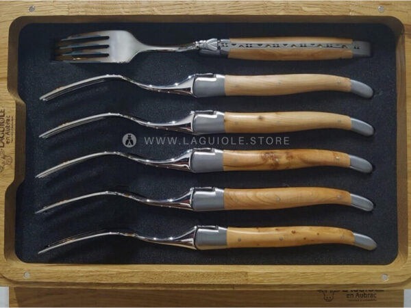 dinner forks laguiole juniper wood satin