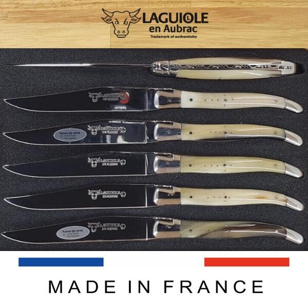 horn tip laguiole steak knives set of 6