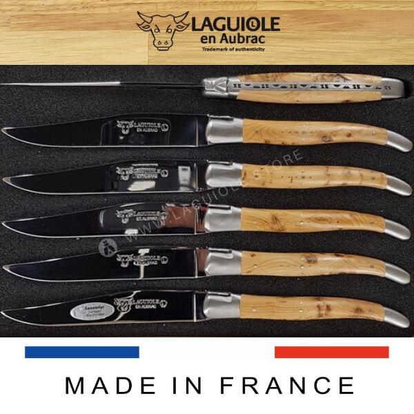 juniper wood laguiole steak knives set