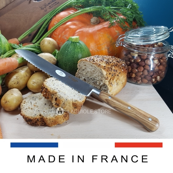 laguiole bread knife olive wood