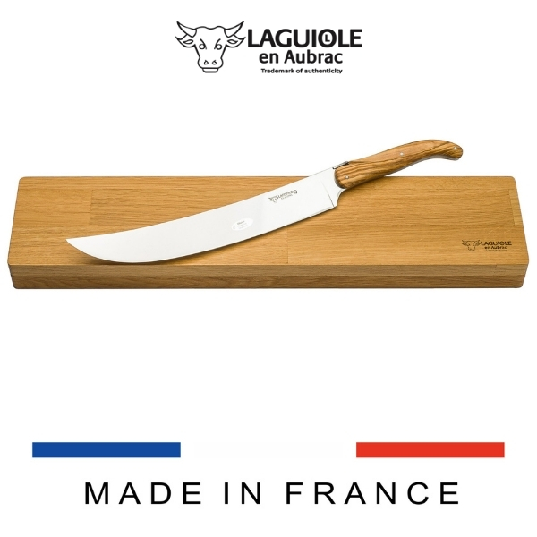 laguiole champagne sabre and oak box olivewood handle