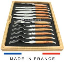 laguiole cutlery set 12-piece shiny juniper wood