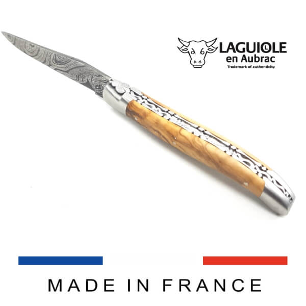 laguiole damascus steel blade olivewood handle