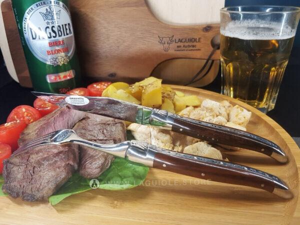 laguiole dinner fork and laguiole steak knife snakewood