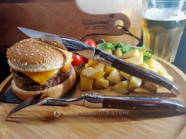 laguiole dinner fork and laguiole steak knife snakewood handle