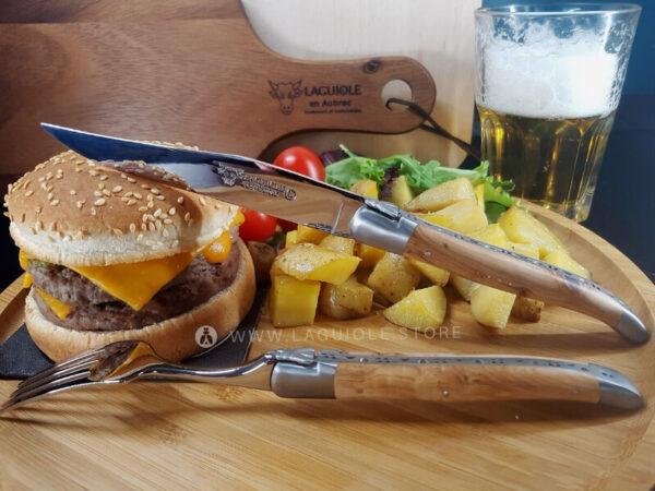 laguiole dinner forks and steak knives juniper wood handle
