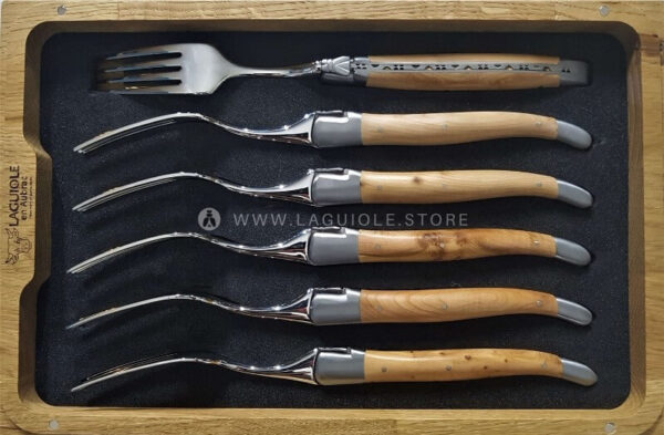 laguiole dinner forks juniper wood satin