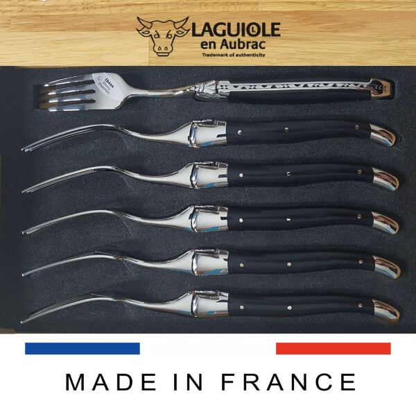 laguiole dinner forks set ebony wood