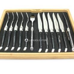 laguiole en aubrac cutlery set 12 piece black buffalo horn handle