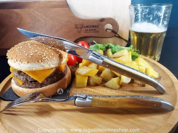 laguiole en aubrac fork and knife pistachio wood