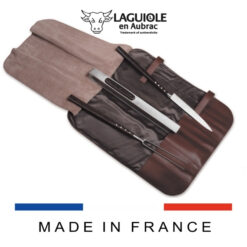 laguiole en aubrac grill set wenge handle leather case