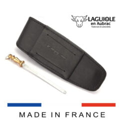 laguiole en aubrac leather sheath and sharpening steel