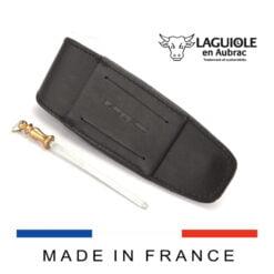 laguiole en aubrac leather sheath and sharpening steel