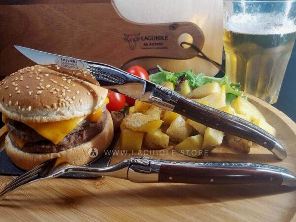 laguiole en aubrac steak knife and fork snakewood