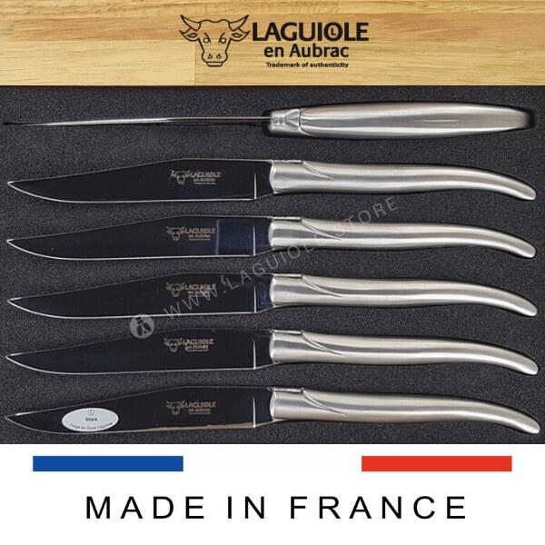 laguiole en aubrac steak knives all stainless steel satin