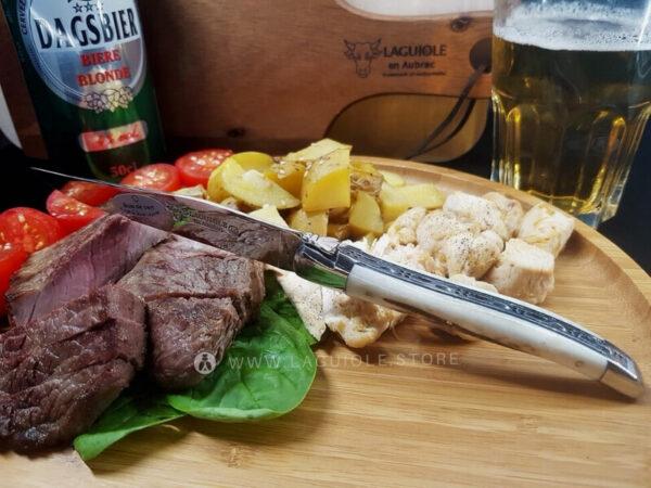 laguiole en aubrac steak knives deer antler shiny polish