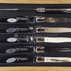 laguiole en aubrac steak knives mixed horn and bone