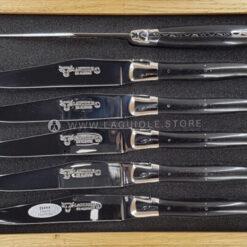 laguiole en aubrac steak knives set of 6 ebony wood handle
