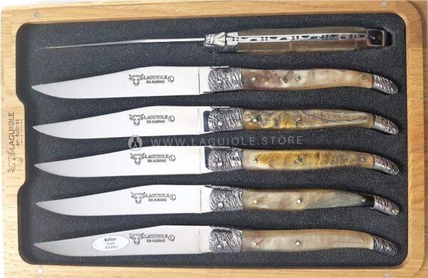 laguiole en aubrac steak knives set ram horn crust hammered bolsters