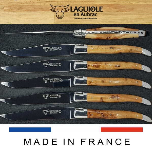 laguiole en aubrac steak knives shiny juniper wood handle
