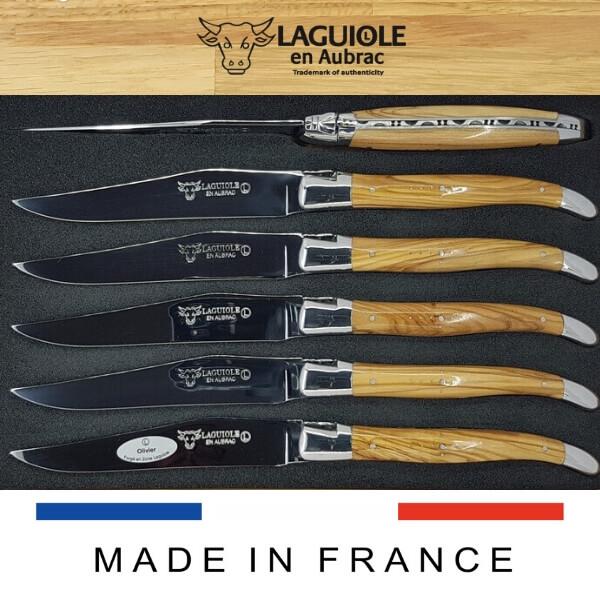 laguiole en aubrac steak knives shiny olive wood handle