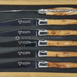 laguiole en aubrac table knives shiny juniper wood handle