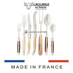 laguiole flatware set 21 piece shiny wood handle