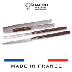 laguiole grill set wenge handle leather case