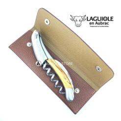 laguiole leather belt sheath for waiters corkscrews