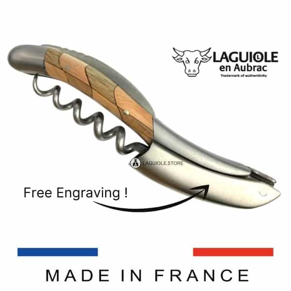 laguiole sommelier knife checkerboard juniper and walnut handle