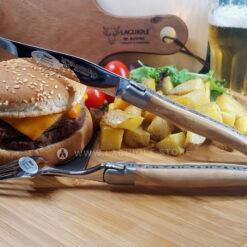 laguiole steak knife and dinner fork olivewood satin polish