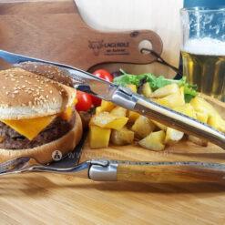 laguiole steak knife and dinner fork pistachio wood satin polish