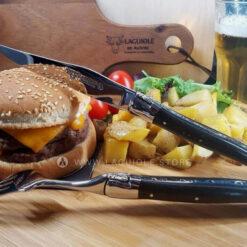 laguiole steak knife and fork ebony wood
