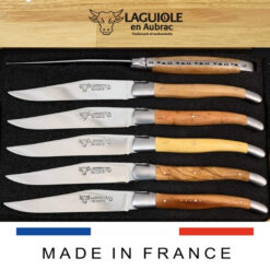 laguiole steak knives set of 6 mixed french wood