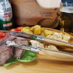 laguiole table knife and dinner fork olivewood satin polish