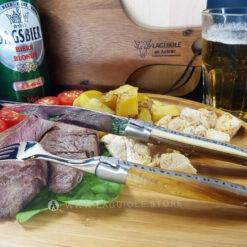 laguiole table knife and dinner fork pistachio wood satin polish