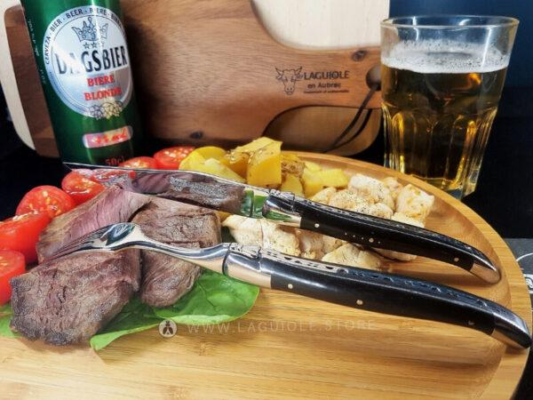 laguiole table knife and laguiole dinner fork ebony wood handle