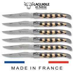 laguiole table knives checkered inlay ebony-boxwood